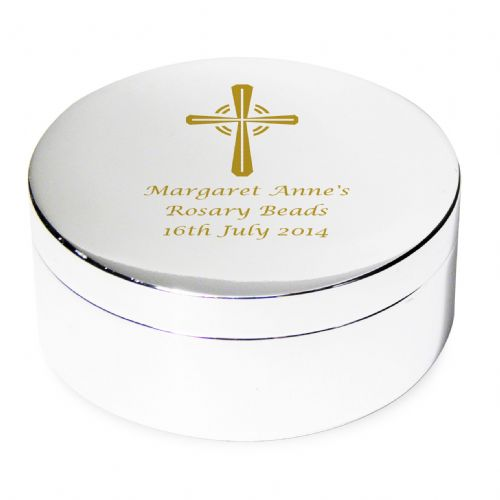 Personalised Gold Cross Rosary Bead Trinket Box